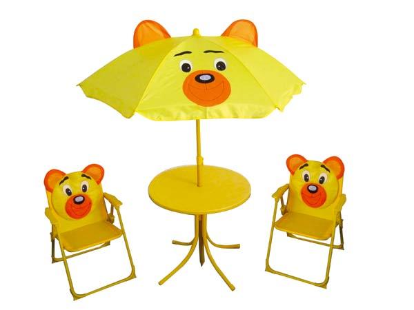 7dadbcd274701 Detská záhradná súprava BEAR - kresielka, stolček a slnečník ...