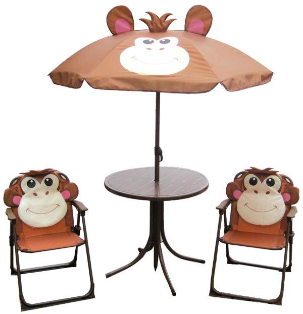 e05d0400a0700 Detská záhradná súprava MONKEY - kresielka, stolček a slnečník ...