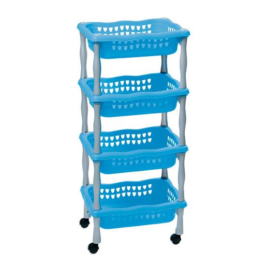 be897841a Plastový pojazdný regál do kúpeľne 623, 4 košíky, 4x4 kg, modrá ...